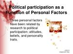 political participation as a function of personal factors