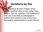 variations by sex