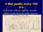 4 war peaks every 100 yrs