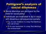 pettigrew s analysis of social dilemmas