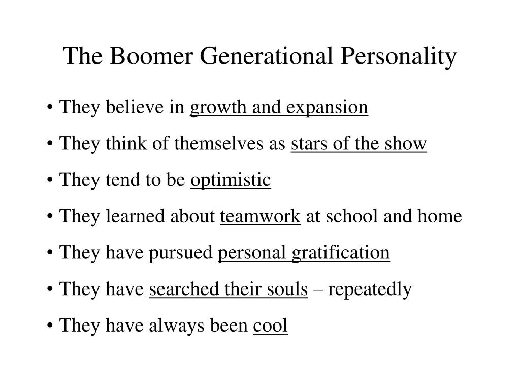 The Boomer Generational Personality