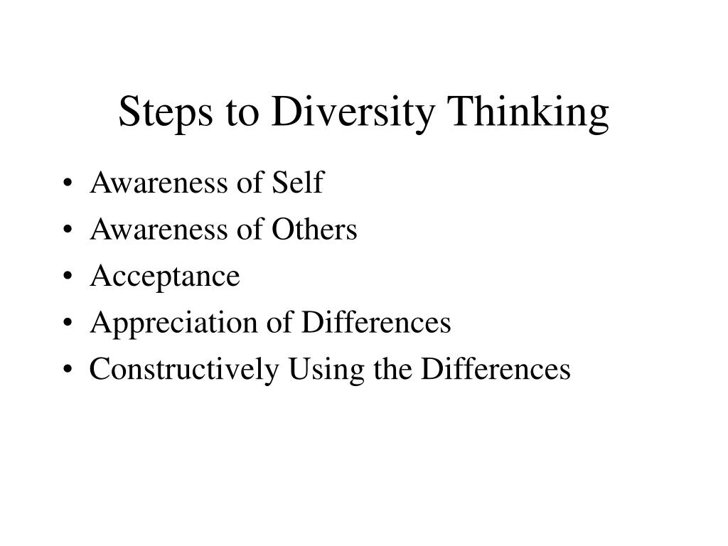 Steps to Diversity Thinking