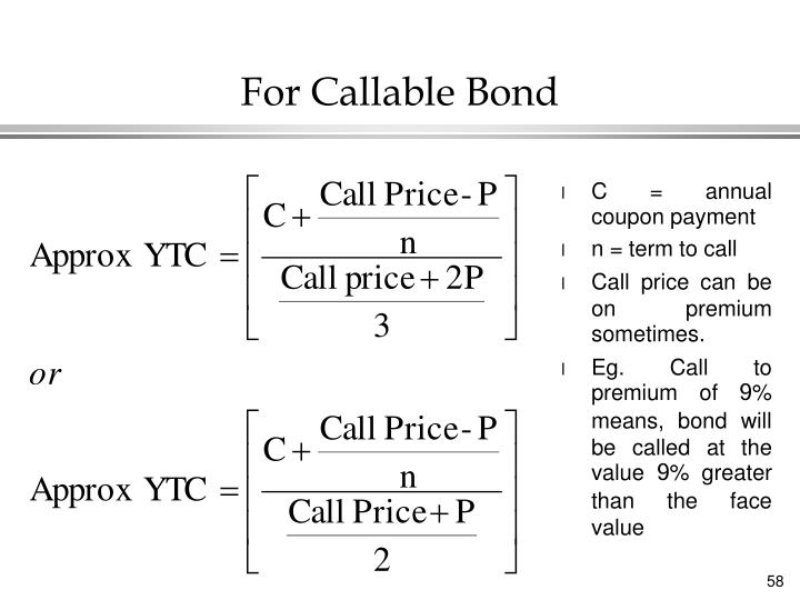 For Callable Bond