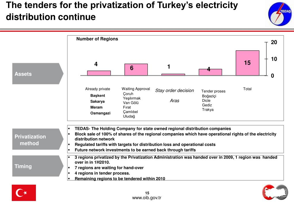 The tenders for the privatization of Turkey's electricity distribution continue