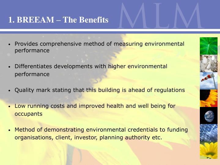 1. BREEAM – The Benefits