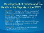 development of climate and health in the reports of the ipcc