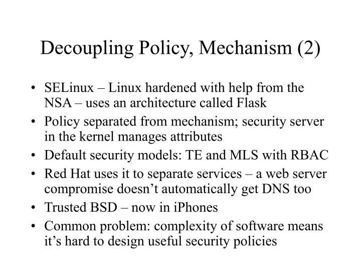 Decoupling policy mechanism 2