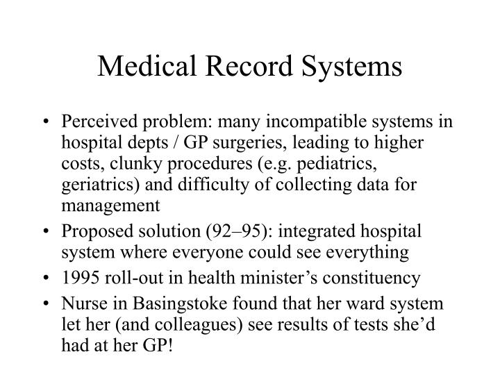 Medical Record Systems