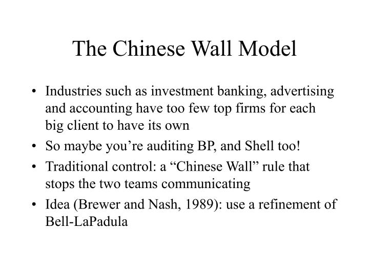 The Chinese Wall Model