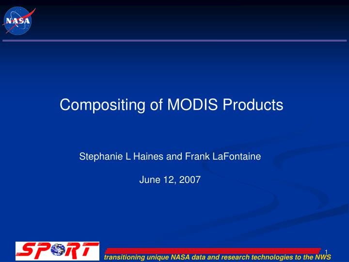 Compositing of MODIS Products