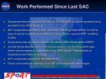 work performed since last sac