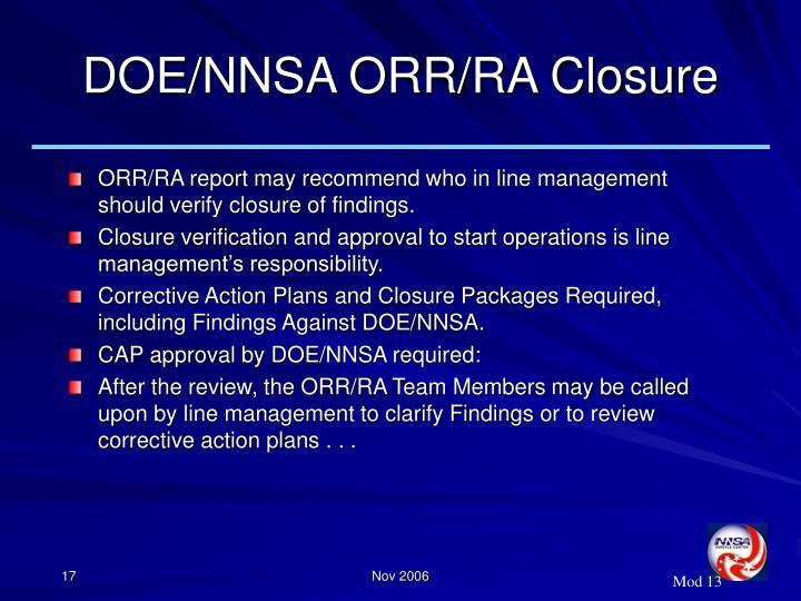 DOE/NNSA ORR/RA Closure