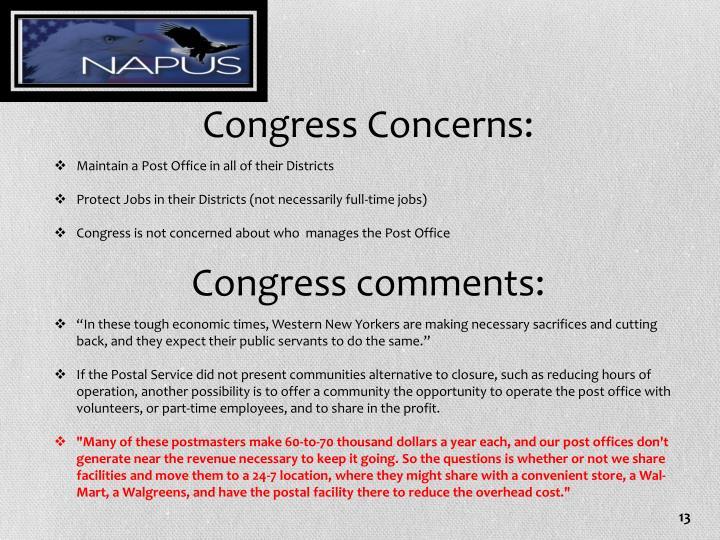 Congress Concerns: