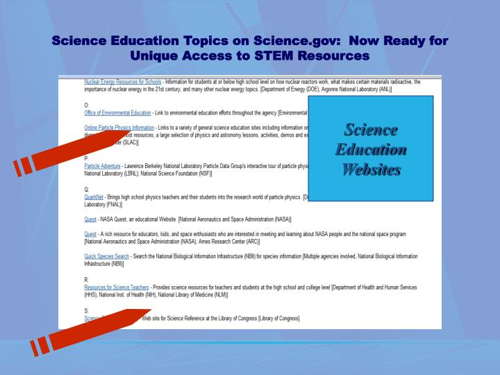 Science Education Topics on Science.gov:  Now Ready for Unique Access to STEM Resources