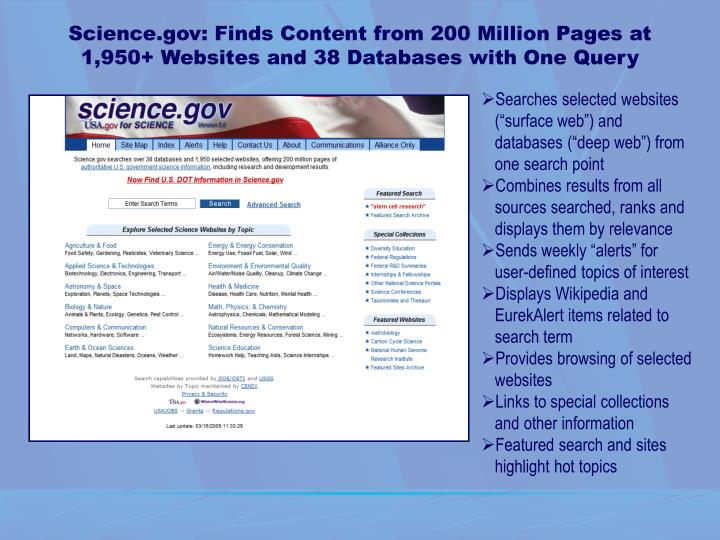 Science.gov: Finds Content from 200 Million Pages at