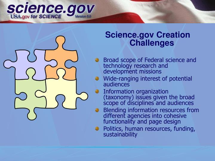 Science.gov Creation Challenges