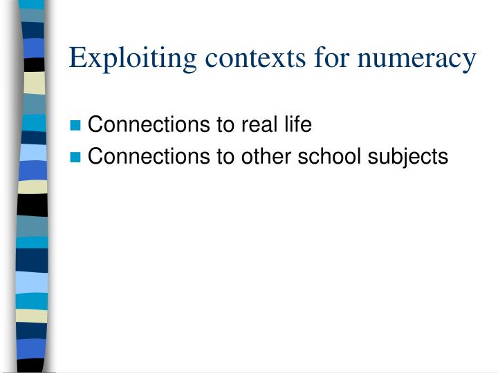 Exploiting contexts for numeracy
