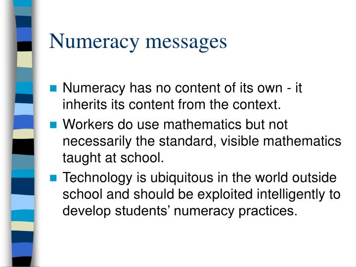 Numeracy messages