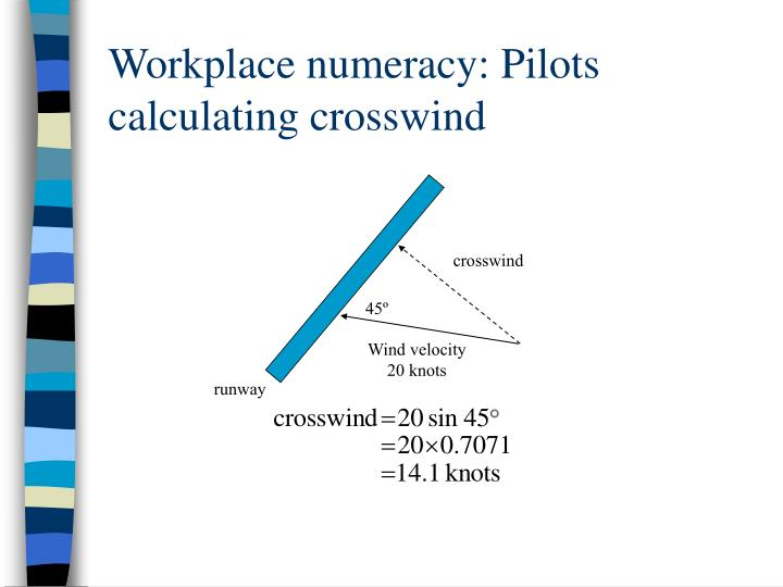 Workplace numeracy: Pilots calculating crosswind