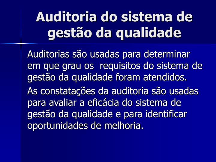 Auditoria do sistema de gestão da qualidade