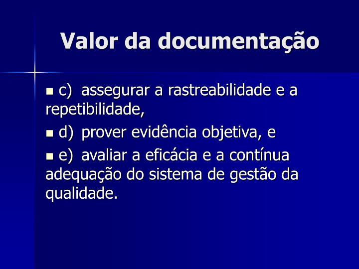 Valor da documentação