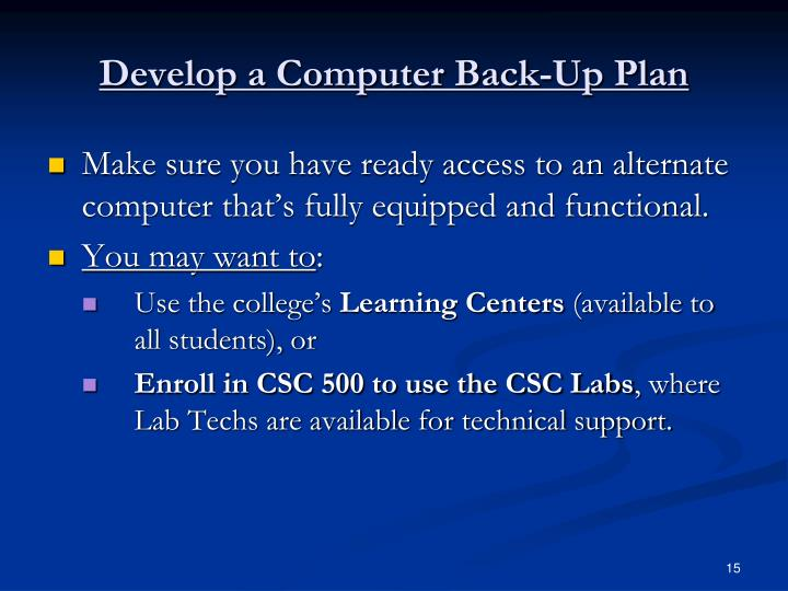 Develop a Computer Back-Up Plan