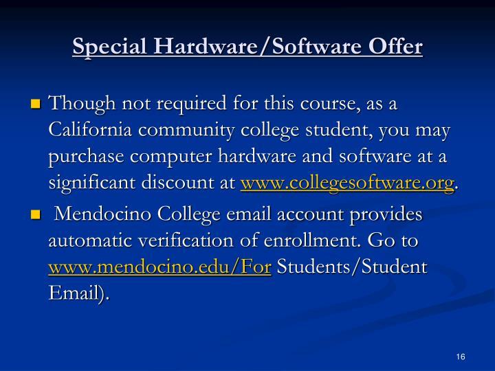 Special Hardware/Software Offer