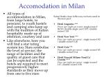 accomodation in milan