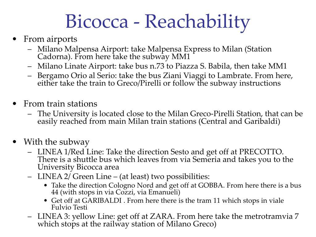 Bicocca - Reachability
