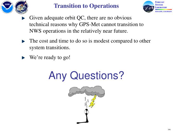 Transition to Operations