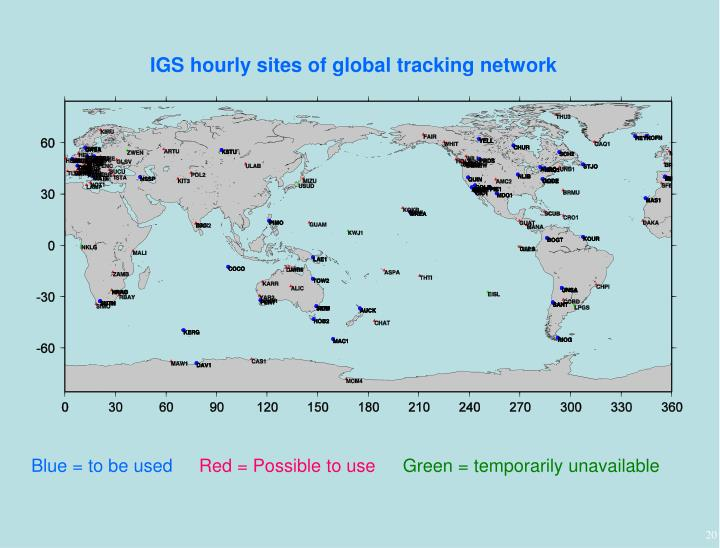 IGS hourly sites of global tracking network