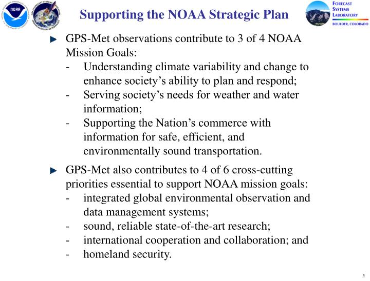 Supporting the NOAA Strategic Plan