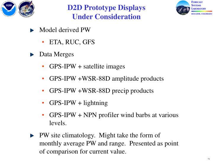 D2D Prototype Displays                              Under Consideration