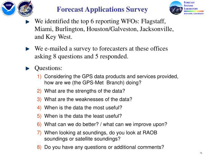 Forecast Applications Survey