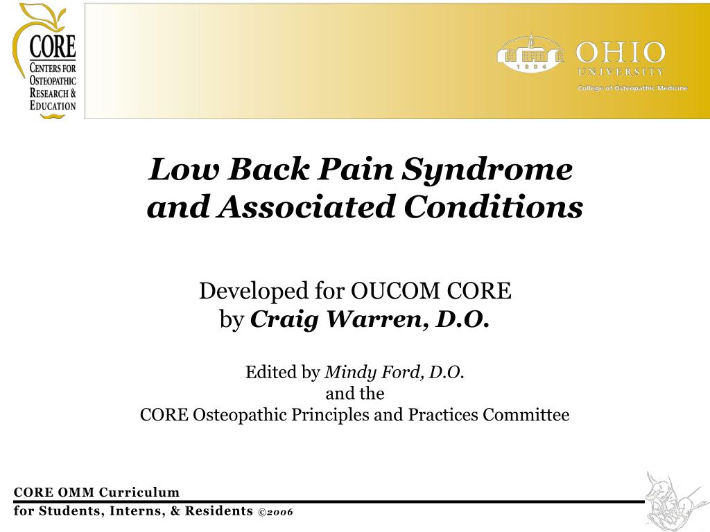 low back pain syndrome and associated conditions l.
