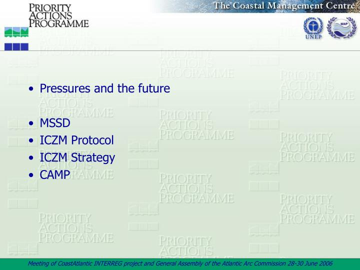 Pressures and the future