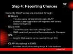 step 4 reporting choices