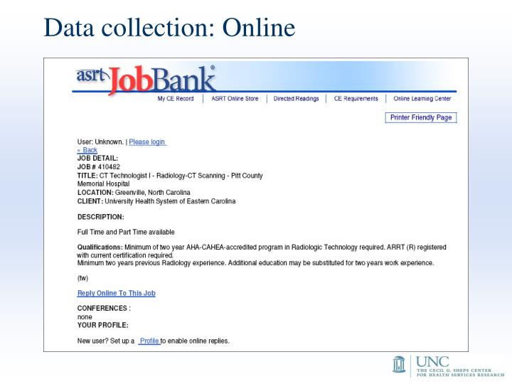 Data collection: Online