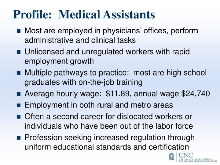 Profile:  Medical Assistants