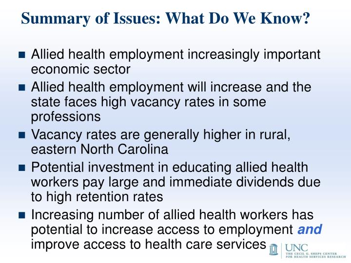 Summary of Issues: What Do We Know?