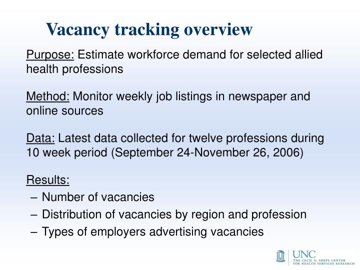Vacancy tracking overview