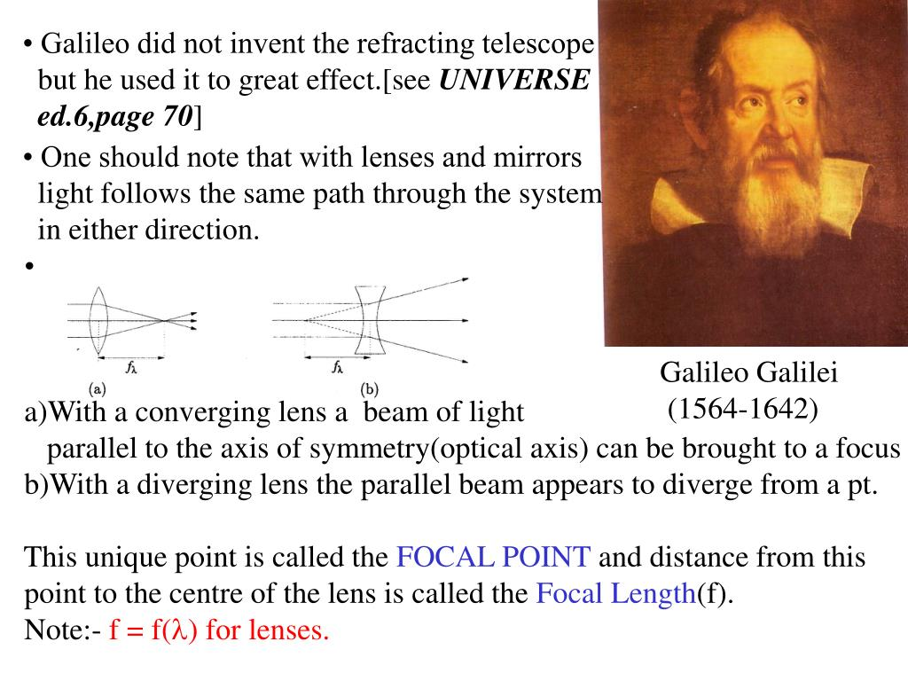 • Galileo did not invent the refracting telescope