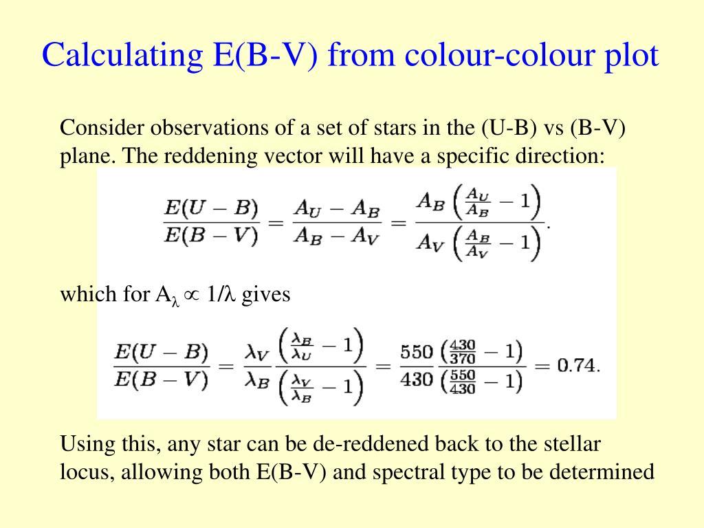 Calculating E(B-V) from colour-colour plot