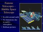 famous telescopes hubble space telescope