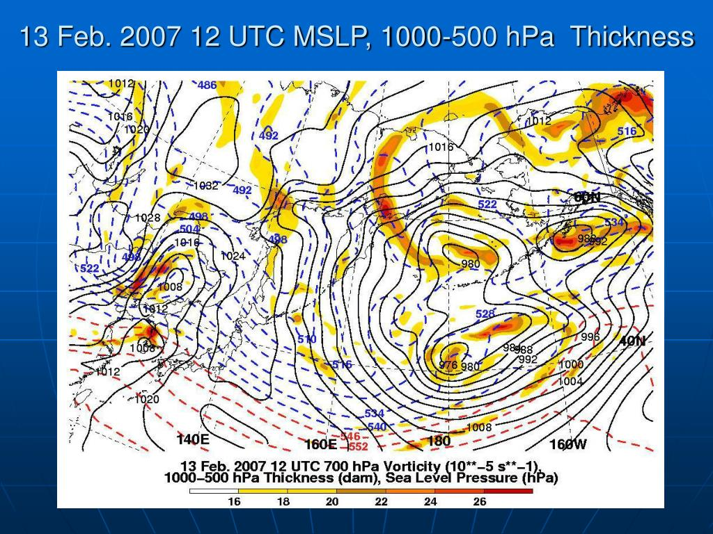 13 Feb. 2007 12 UTC MSLP, 1000-500 hPa  Thickness