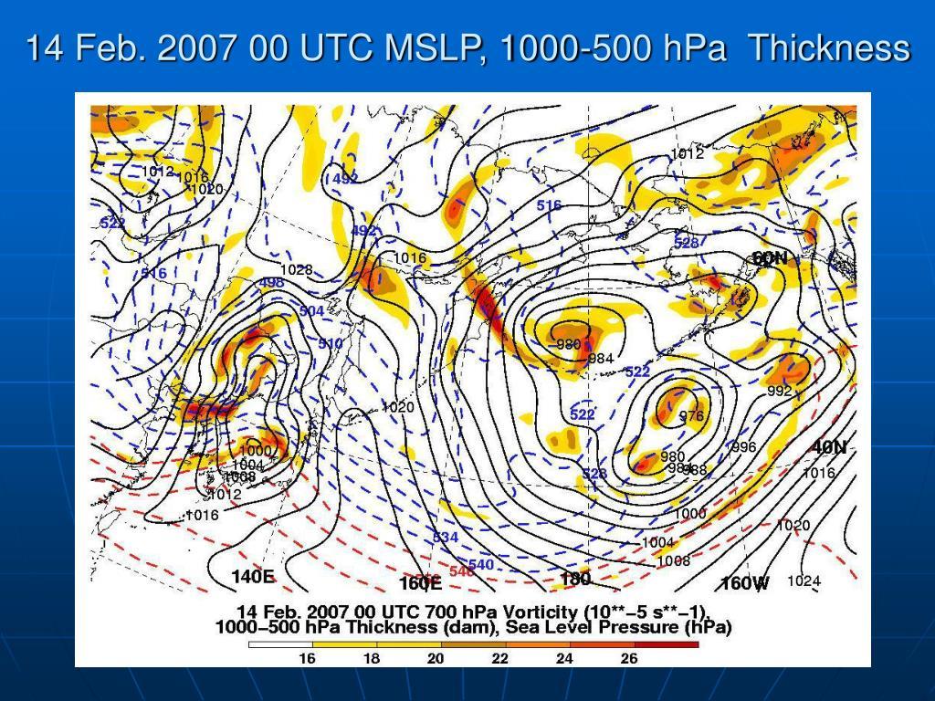 14 Feb. 2007 00 UTC MSLP, 1000-500 hPa  Thickness
