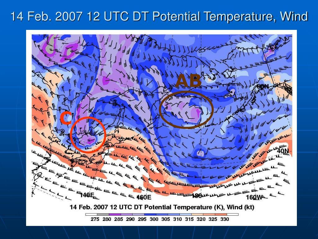14 Feb. 2007 12 UTC DT Potential Temperature, Wind