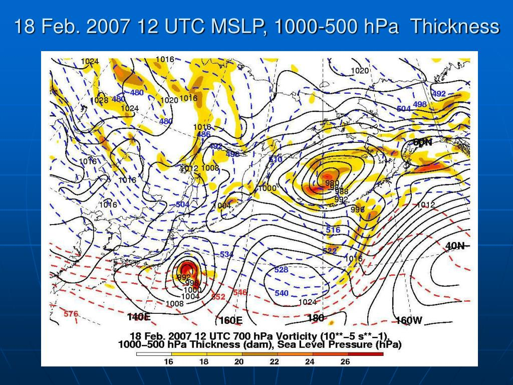 18 Feb. 2007 12 UTC MSLP, 1000-500 hPa  Thickness