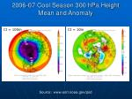 2006 07 cool season 300 hpa height mean and anomaly