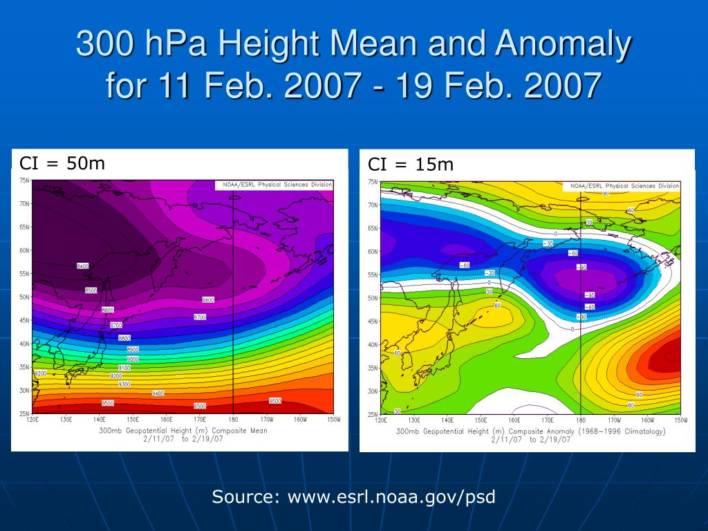 300 hPa Height Mean and Anomaly